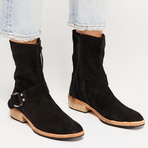 "New Free People ""Vienna"" Black Suede Ankle Boot"